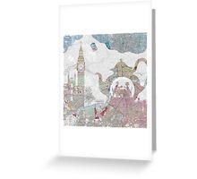 4 o'clock tea London Map Greeting Card