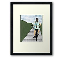 Cyclist From Behind Framed Print