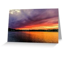 Colorful Sunset in Boston, Ma Greeting Card