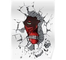 Red Peeking Monster Poster