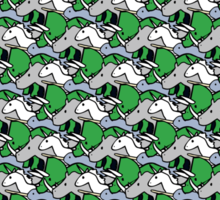 Horned Warrior Friends pattern (unicorn, narwhal, triceratops, rhino) Sticker