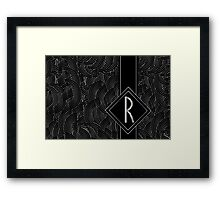 1920s Jazz Deco Swing Monogram black & silver letter R Framed Print