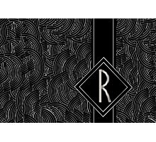 1920s Jazz Deco Swing Monogram black & silver letter R Photographic Print