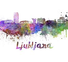 Ljubljana skyline in watercolor by paulrommer