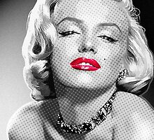 Marilyn Shining -  Black, White & Red by Everett Day