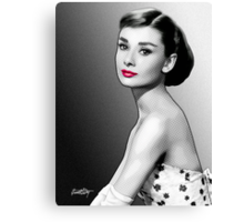 Audrey Hepburn - Black, White & Red Canvas Print