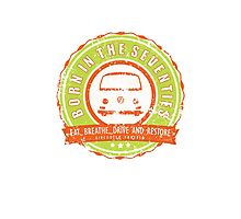 Retro Badge Seventies Orange Green Grunge Photographic Print