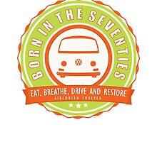 Retro Badge Seventies Orange Green by splashgti