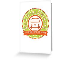 Retro Badge Seventies Orange Green Greeting Card