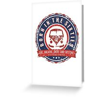 Retro Badge Sixties Red Blue Grunge Greeting Card