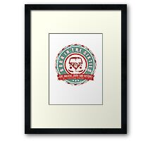 Retro Badge Sixties Red Green Grunge Framed Print