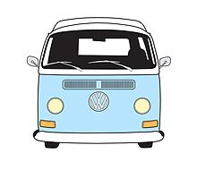 Early Bay VW Camper Front Pale Blue by splashgti