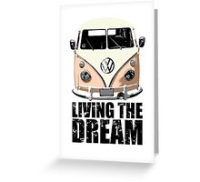 VW Camper Living The Dream Apricot Greeting Card