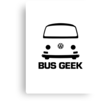 VW Camper Bay Bus Geek Black Canvas Print