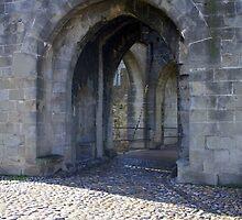Drawbridge in Carcassonne, France by pilsetnieks