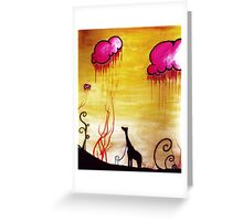Taking Giraffe for a walk Greeting Card