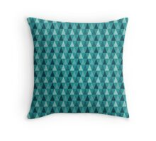 Blue Geometric Triangle Pattern Throw Pillow