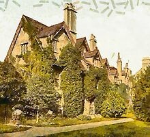 A digital painting of  Worcester College, Oxford, England by Dennis Melling