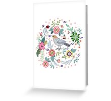 Beautiful bird in flowers Greeting Card