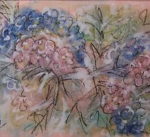 Hydrangeas Mixed Media Art by Heather Holland by Heatherian