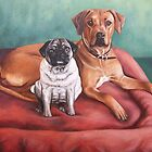 Pug and Ridgeback by Nicole Zeug