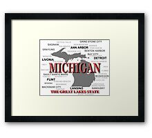 Michigan State Pride Map Silhouette  Framed Print