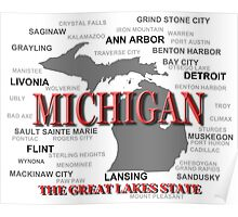 Michigan State Pride Map Silhouette  Poster