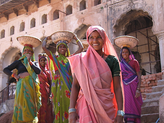 Indian women at work, Orchha, India  by vadim19