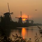 Sunrise at Kinderdijk by hanspeters