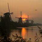Sunrise at Kinderdijk by hanspeters