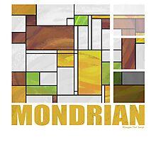 Mondrian Brown Yellow Green  Photographic Print