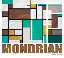 Mondrian Brown Yellow Teal  by Traci VanWagoner