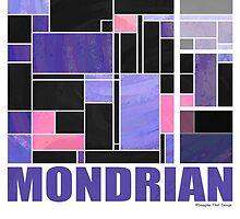 Mondrian Purple Pink Black  by Traci VanWagoner