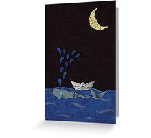 whale & moon Greeting Card