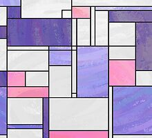 Mondrian Pink Purple White  by Traci VanWagoner