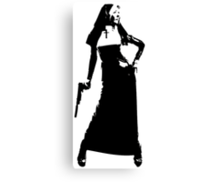 Gun totting nun! Canvas Print