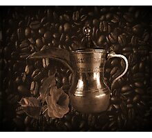 THE LAST DROP..(COFFEE POT-COFFEE BEANS-&ROSE) / PICTURE / TOTE BAG / THROW PILLOW Photographic Print
