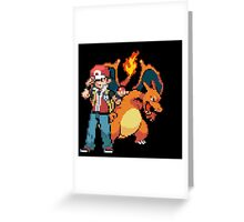 Red and Charizard Greeting Card