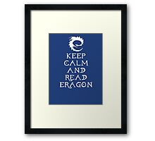 Keep calm and read Eragon (White text) Framed Print