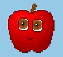 Apple Pixel Smile - Blue Background by CraftSalad