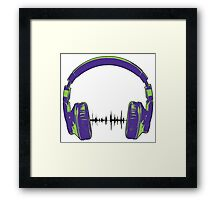 Headphones - Green and Blue Framed Print