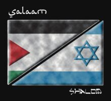 Salaam & Shalom -- Split Palestinian & Israeli Flags for Peace by Samuel Sheats