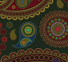 Oriental Iranian Paisley, Dots - Blue Green Red  by sitnica