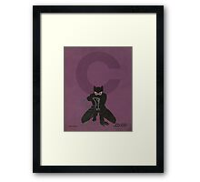 Catwoman - Superhero Minimalist Alphabet Print Art Framed Print