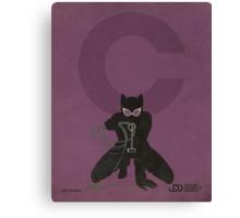 Catwoman - Superhero Minimalist Alphabet Print Art Canvas Print