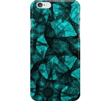 Fractal art black and turquoise iPhone Case/Skin