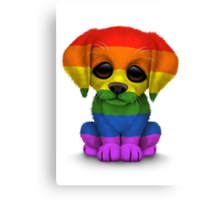 Cute Gay Pride Rainbow Flag Puppy Dog Canvas Print