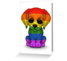 Cute Gay Pride Rainbow Flag Puppy Dog Greeting Card