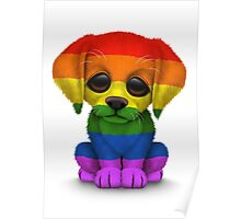 Cute Gay Pride Rainbow Flag Puppy Dog Poster