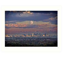 Full Moon Over New York, USA Art Print